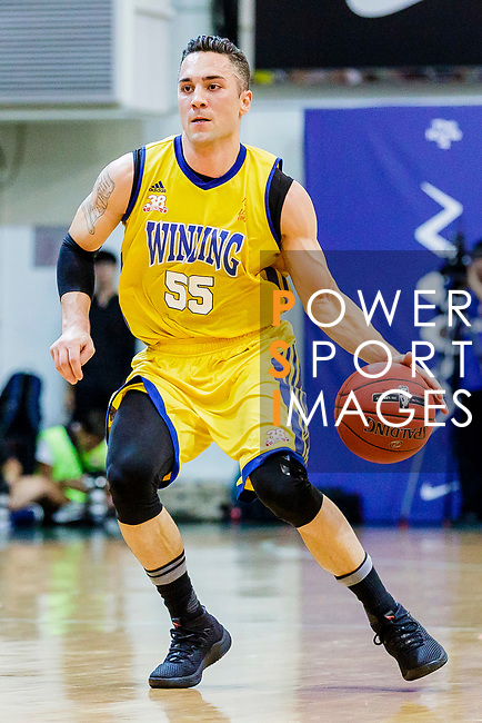 Kepkey Tyler Alexander #55 of Winling Basketball Club handles the ball against the SCAA during the Hong Kong Basketball League game between SCAA vs Winling at Southorn Stadium on June 19, 2018 in Hong Kong. Photo by Yu Chun Christopher Wong / Power Sport Images