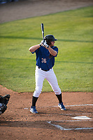 Missoula Osprey first baseman Zack Shannon (36) at bat during a Pioneer League game against the Grand Junction Rockies at Ogren Park Allegiance Field on August 21, 2018 in Missoula, Montana. The Missoula Osprey defeated the Grand Junction Rockies by a score of 2-1. (Zachary Lucy/Four Seam Images)