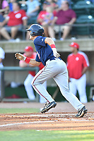Elizabethton Twins Trevor Jensen (38) runs to first base during a game against the Greenville Reds at Pioneer Park on June 29, 2019 in Greeneville, Tennessee. The Twins defeated the Reds 8-1. (Tony Farlow/Four Seam Images)