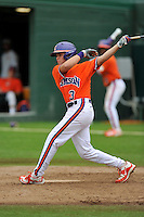 Freshman infielder Grant Cox (3) (Greenville High School) of the Clemson Tigers in a fall practice intra-squad Orange-Purple scrimmage on Saturday, September 26, 2015, at Doug Kingsmore Stadium in Clemson, South Carolina. (Tom Priddy/Four Seam Images)