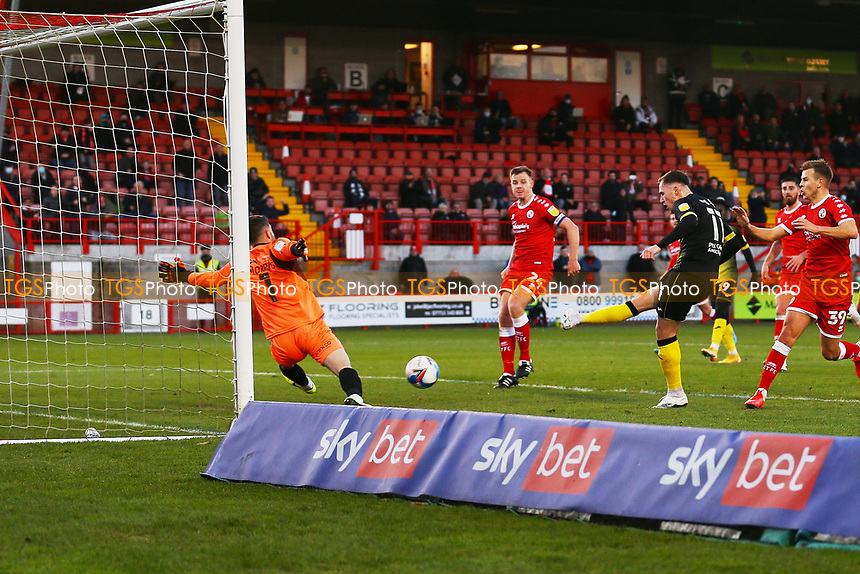 Josh Kay of Barrow AFC scores the first goal for his team form a rebound after his penalty and celebrates during Crawley Town vs Barrow, Sky Bet EFL League 2 Football at Broadfield Stadium on 12th December 2020
