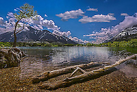 Fine Art Print landscape scenic of  Waterton Lakes National Park situated amongst the mountains and foothills in southern Alberta, Canada.  A world heritage site.