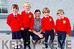 Four new junior infants on their first day in Bouleenshere NS on Tuesday. L to r: Katelyn Cronin, Shane McInerney, Miss McCarthy (Teacher), Leo O'Donoghue and Patrick Flahive.