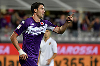 Dusan Vlahovic of ACF Fiorentina celebrates after scoring the goal of 1-0 during Italy cup football match between ACF Fiorentina and Cosenza calcio at Artemio Franchi stadium in Florence (Italy), August 13th, 2021. Photo Andrea Staccioli / Insidefoto