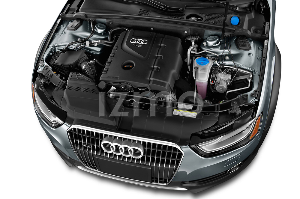 Car stock 2013-2016 Audi A4 Allroad Premium Quattro 4 Door Wagon engine high angle detail view