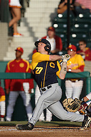 Chadd Krist #27 of the California Bears bats against the USC Trojans at Dedeaux Field on April 5, 2012 in Los Angeles,California. California defeated USC 5-4.(Larry Goren/Four Seam Images)