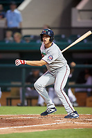 Fort Myers Miracle right fielder Alex Kirilloff (19) follows through on a swing during a game against the Lakeland Flying Tigers on August 7, 2018 at Publix Field at Joker Marchant Stadium in Lakeland, Florida.  Fort Myers defeated Lakeland 5-0.  (Mike Janes/Four Seam Images)