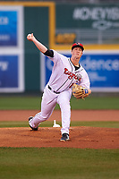 Lansing Lugnuts starting pitcher Joey Murray (18) during a Midwest League game against the Wisconsin Timber Rattlers at Cooley Law School Stadium on May 2, 2019 in Lansing, Michigan. Lansing defeated Wisconsin 10-4. (Zachary Lucy/Four Seam Images)