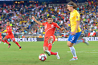 Photo during the match Brasil vs Peru, Corresponding to  Group -B- of the America Cup Centenary 2016 at Gillette Stadium.<br /> <br /> Foto durante al partido Brasil vs Peru, Correspondiente al Grupo -B- de la Copa America Centenario 2016 en el Estadio Gillette en la foto: (i-d) Edison Flores y Filipe Luis<br /> <br /> <br /> 12/06/2016/MEXSPORT/ISAAC ORTIZ