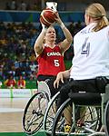 Janet McLachlan, Rio 2016 - Wheelchair Basketball // Basketball en fauteuil roulant.<br /> The Canadian women's wheelchair basketball team plays Germany in the preliminaries // L'équipe canadienne féminine de basketball en fauteuil roulant affronte l'Allemagne dans la ronde préliminaire. 11/09/2016.