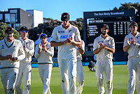 NZ's Kyle Jamieson leads the Black Caps from the field after his five-wicket bag during day two of the second International Test Cricket match between the New Zealand Black Caps and West Indies at the Basin Reserve in Wellington, New Zealand on Friday, 11 December 2020. Photo: Dave Lintott / lintottphoto.co.nz