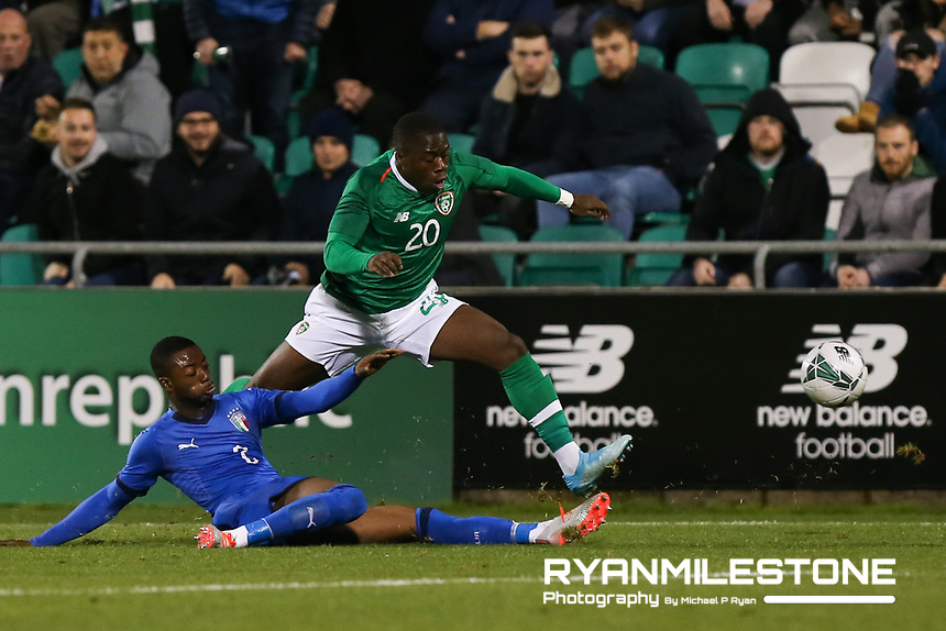 EVENT:<br /> UEFA European U21 Championship Qualifier Group 1 Republic of Ireland v Italy<br /> Thursday 10th October 2019,<br /> Tallaght Stadium, Dublin<br /> <br /> CAPTION:<br /> Michael Obafemi of Republic of Ireland in action against Claud Adjapong of Italy<br /> <br /> Photo By: Michael P Ryan