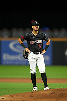 Fayetteville Woodpeckers second baseman Miguelangel Sierra (3) during a Carolina League game against the Down East Wood Ducks on August 13, 2019 at SEGRA Stadium in Fayetteville, North Carolina.  Fayetteville defeated Down East 5-3.  (Mike Janes/Four Seam Images)