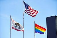 SAN JOSE, CA - JUNE 8: Flags during a game between FC Dallas and San Jose Earthquakes at Avaya Stadium on June 8, 2019 in San Jose, California.