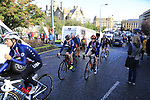 US Team head to sign on for the start of the Women Elite Road Race of the UCI World Championships 2019 running 149.4km from Bradford to Harrogate, England. 28th September 2019.<br /> Picture: Eoin Clarke | Cyclefile<br /> <br /> All photos usage must carry mandatory copyright credit (© Cyclefile | Eoin Clarke)