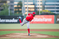 AZL Angels starting pitcher Jose Suarez (96) follows through on his delivery against the AZL White Sox on August 14, 2017 at Diablo Stadium in Tempe, Arizona. AZL Angels defeated the AZL White Sox 3-2. (Zachary Lucy/Four Seam Images)