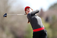 WALLACE, NC - MARCH 09: Zhangcheng Guo of Boston University tees off on the 13th hole of the River Course at River Landing Country Club on March 09, 2020 in Wallace, North Carolina.