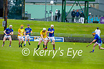 A loose sliotar between Kerry's Jason Diggins and Paudie O'Connor as Damien Healy of Meath looks on, in the National hurling league in Austin Stack Park on Sunday