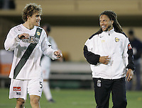 29 October 2005:  Chris Albright of LA Galaxy shares some laughs with Cobi Jones of LA Galaxy after LA Galaxy defeated Earthquakes at Spartan Stadium in San Jose, California.   LA Galaxy defeated Earthquakes, 4-2 in two games.