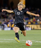 June 7, 2016: ROSIE WHITE (13) of New Zealand kicks the ball during an international friendly match between the Australian Matildas and the New Zealand Football Ferns as part of the teams' preparation for the Rio Olympic Games at Etihad Stadium, Melbourne. Photo Sydney Low