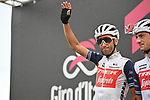 Vincenzo Nibali (ITA) Trek-Segafredo at sign on before the start of Stage 9 of the 103rd edition of the Giro d'Italia 2020 running 208km from San Salvo to Roccaraso (Aremogna), Sicily, Italy. 11th October 2020.  <br /> Picture: LaPresse/Massimo Paolone   Cyclefile<br /> <br /> All photos usage must carry mandatory copyright credit (© Cyclefile   LaPresse/Massimo Paolone)