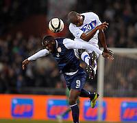 GENOVA, ITALY - February 29, 2012: Jozy Altidore (l, USA), Angelo Obinze Ogbonna (r, ITA) during the USA friendly match against Italy at the Stadium Luigi Ferraris in Genova, Italy.