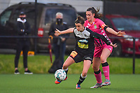Justine Blave (22) of Eendracht Aalst and Noemie Fourdin (11) of Sporting Charleroi pictured during a female soccer game between Sporting Charleroi and Eendracht Aalst on the 8th matchday in play off 2 of the 2020 - 2021 season of Belgian Scooore Womens Super League , tuesday 18 th of May 2021 in Marcinelle , Belgium . PHOTO SPORTPIX.BE   SPP   STIJN AUDOOREN