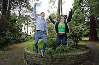 Pictured L-R: Students Jake Lomas and Holly Dickens.<br /> Re: Ffynone School A Level results, Swansea, south Wales.