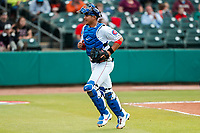 Tennessee Smokies catcher Miguel Amaya (30) jogs to the dugout during the game against the Montgomery Biscuits on May 8, 2021, at Smokies Stadium in Kodak, Tennessee. (Danny Parker/Four Seam Images)