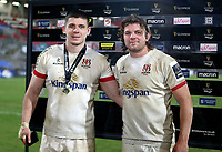 26 February 2021; Ulster captain Jordi Murphy presents Nice Timoney with the Player Of The Match Award after the Guinness PRO14 match between Ulster and Ospreys at Kingspan Stadium in Belfast. Photo by John Dickson/Dicksondigital