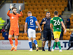 St Johnstone v Preston North End…13.07.21  McDiarmid Park<br />Saints boss Callum Davidson shakes hands wit Ched Evans at full time as Zander Clark applauds the fans<br />Picture by Graeme Hart.<br />Copyright Perthshire Picture Agency<br />Tel: 01738 623350  Mobile: 07990 594431