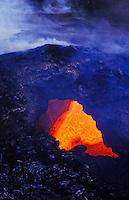 Lava flow under rock archway at Hawaii volcanoes national park, Big island