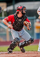 29 July 2018: Batavia Muckdogs catcher J.D. Osborne in action against the Vermont Lake Monsters at Centennial Field in Burlington, Vermont. The Lake Monsters defeated the Muckdogs 4-1 in NY Penn League action. Mandatory Credit: Ed Wolfstein Photo *** RAW (NEF) Image File Available ***