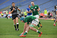 Will Connors  of Ireland scores a try<br /> Roma, Olimpico stadium, 27/02/2021.<br /> Italy vs Ireland <br /> Six Nations 2021 rugby trophy <br /> Photo Antonietta Baldassarre/ Insidefoto