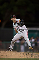 Lake Elsinore Storm relief pitcher Elliot Ashbeck (27) during a California League game against the Modesto Nuts at John Thurman Field on May 11, 2018 in Modesto, California. Modesto defeated Lake Elsinore 3-1. (Zachary Lucy/Four Seam Images)