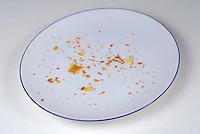 Pie crumbs in an empty plate