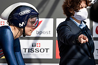 Leah Thomas (USA/Movistar) at the race start in Knokke-Heist<br /> <br /> Women Elite Individual Time Trial from Knokke-Heist to Bruges (30.3 km)<br /> <br /> UCI Road World Championships - Flanders Belgium 2021<br /> <br /> ©kramon