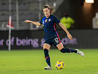 ORLANDO, FL - FEBRUARY 24: Tierna Davidson #12 of the USWNT crosses the ball during a game between Argentina and USWNT at Exploria Stadium on February 24, 2021 in Orlando, Florida.