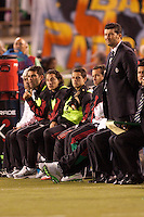 Mexico national team headcoach Nestor de la Torre (R) with with his Mexican stars on bench (from L to R) Rafa Marquez, Andres Guardado, Javier Hernandez and Gerado Torrado. The national teams of Mexico and Venezuela played to a 1-1 draw in an International friendly match at  Qualcomm stadium in San Diego, California on  March 29, 2011...