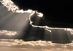 Sun breaks through heavy cloud cover, Olympic National Park, Washington, USA