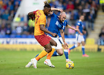 St Johnstone v Galatasaray…12.08.21  McDiarmid Park Europa League Qualifier<br />Chris Kane battles with Christian Luyindama<br />Picture by Graeme Hart.<br />Copyright Perthshire Picture Agency<br />Tel: 01738 623350  Mobile: 07990 594431