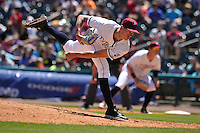 Northwest Arkansas Naturals Eric Skoglund (23) throws during the game against the Springfield Cardinals at Arvest Ballpark on May 4, 2016 in Springdale, Arkansas.  Springfield won 10-6.  (Dennis Hubbard/Four Seam Images)