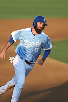 Scott Van Slyke (45) of the Rancho Cucamonga Quakes runs the bases during a rehab assignment game against the Stockton Ports at LoanMart Field on June 13, 2015 in Rancho Cucamonga, California. Stockton defeated Rancho Cucamonga, 14-2. (Larry Goren/Four Seam Images)