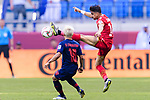 Sayed Redha Isa of Bahrain (R) battles for the ball with Chanathip Songkrasin of Thailand (L) during the AFC Asian Cup UAE 2019 Group A match between Bahrain (BHR) and Thailand (THA) at Al Maktoum Stadium on 10 January 2019 in Dubai, United Arab Emirates. Photo by Marcio Rodrigo Machado / Power Sport Images