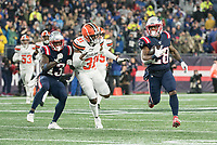 FOXBOROUGH, MA - OCTOBER 27: New England Patriots Wide Receiver Phillip Dorsett #13 blocks Cleveland Browns Safety Juston Burris #31 as New England Patriots Runningback James White #28 runs during a game between Cleveland Browns and New Enlgand Patriots at Gillettes on October 27, 2019 in Foxborough, Massachusetts.