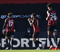 2nd April 2021; Vitality Stadium, Bournemouth, Dorset, England; English Football League Championship Football, Bournemouth Athletic versus Middlesbrough; Dominic Solanke of Bournemouth celebrates scoring in the 78th minute 3-1