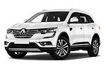 Stock pictures of low aggressive front three quarter view of a 2018 Renault Koleos Intens 4wd 5 Door SUV