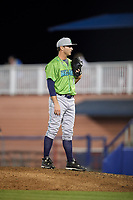 Lynchburg Hillcats relief pitcher Justin Garcia (11) set to deliver a pitch during a game against the Salem Red Sox on May 10, 2018 at Haley Toyota Field in Salem, Virginia.  Lynchburg defeated Salem 11-5.  (Mike Janes/Four Seam Images)