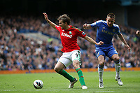 Pictured: Michu goes around John Terry<br /> Barclays Premier League, Chelsea FC (blue) V Swansea City,<br /> 28/04/13