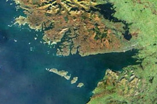 God's Own Country, as seen from a satellite above Connemara and Galway Bay. While the three Aran Islands provide some shelter from the Atlantic, this is still a challenging area in which to organise a cruise-in-company and a couple of offshore races for a fleet of 46 boats